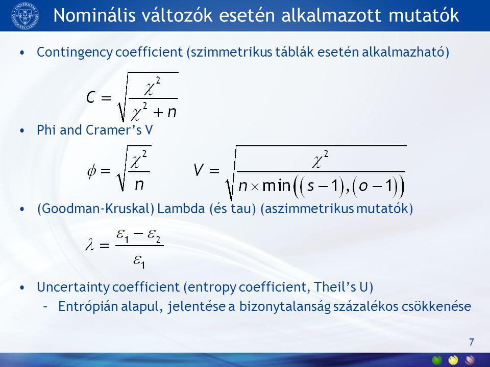 Nominális változók esetén alkalmazott mutatók Contingency coefficient (szimmetrikus táblák esetén alkalmazható) Phi and Cramer's V (Goodman-Kruskal) L