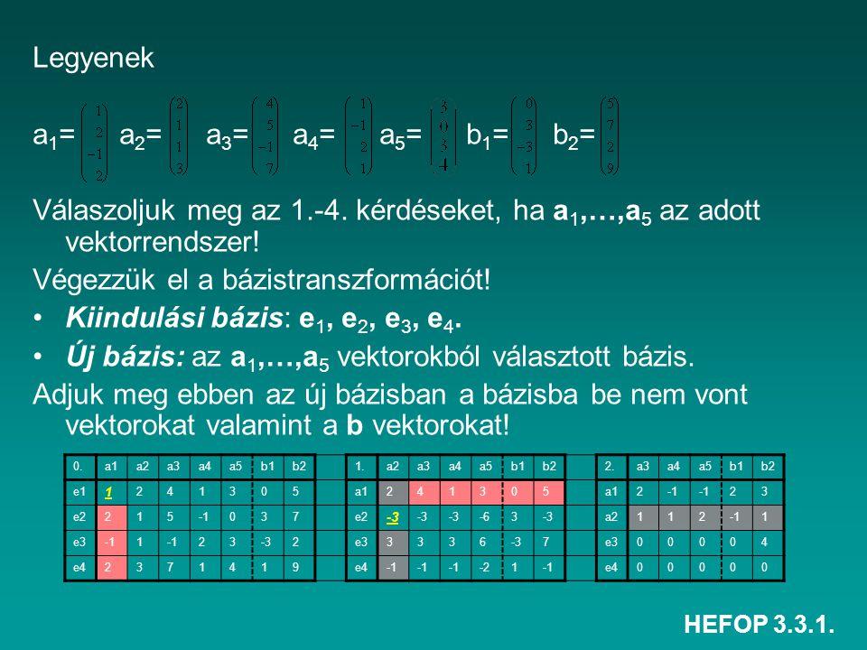 HEFOP 3.3.1. Legyenek a 1 = a 2 = a 3 = a 4 = a 5 = b 1 = b 2 = Válaszoljuk meg az 1.-4. kérdéseket, ha a 1,…,a 5 az adott vektorrendszer! Végezzük el