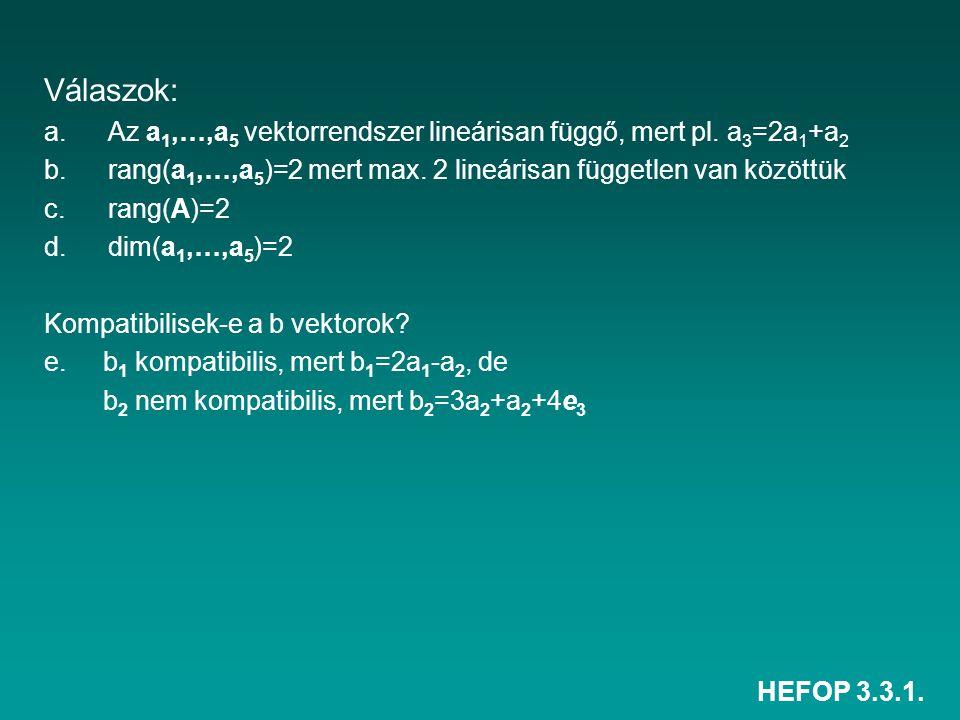 HEFOP 3.3.1. Válaszok: a.Az a 1,…,a 5 vektorrendszer lineárisan függő, mert pl. a 3 =2a 1 +a 2 b.rang(a 1,…,a 5 )=2 mert max. 2 lineárisan független v