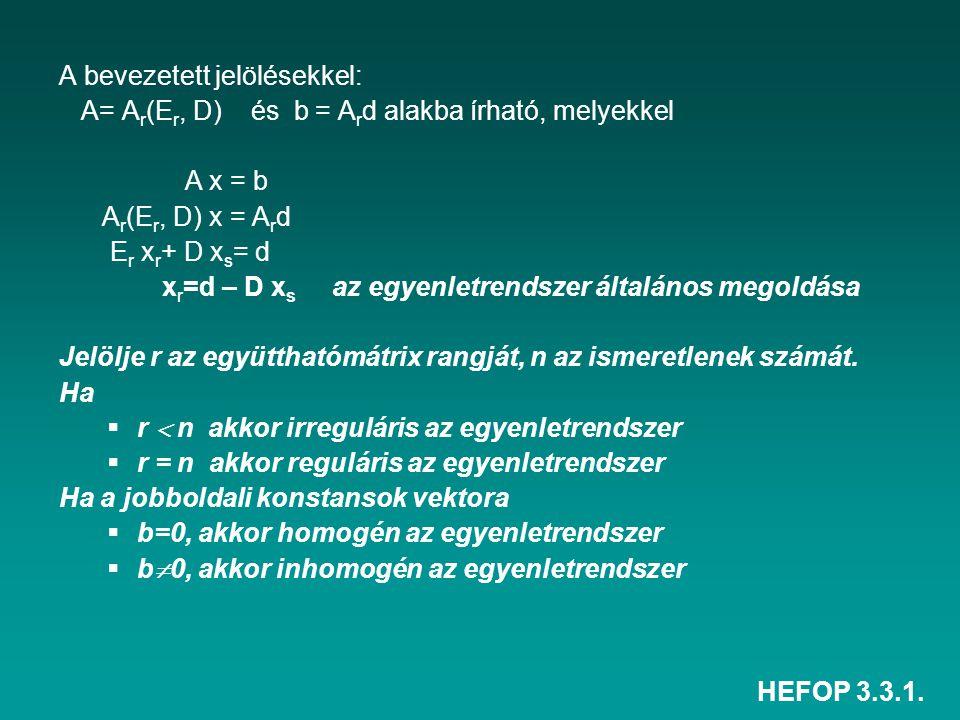 HEFOP 3.3.1. A bevezetett jelölésekkel: A= A r (E r, D) és b = A r d alakba írható, melyekkel A x = b A r (E r, D) x = A r d E r x r + D x s = d x r =