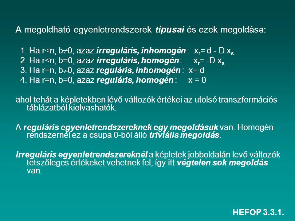 HEFOP 3.3.1. A megoldható egyenletrendszerek típusai és ezek megoldása: 1. Ha r<n, b  0, azaz irreguláris, inhomogén : x r = d - D x s 2. Ha r<n, b=0
