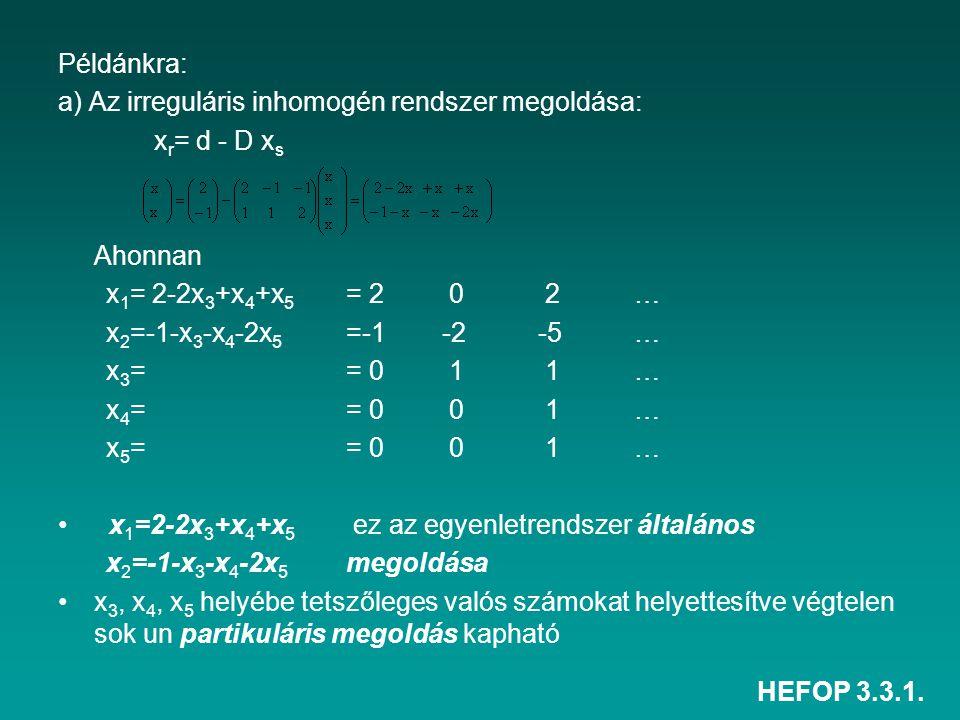 HEFOP 3.3.1. Példánkra: a) Az irreguláris inhomogén rendszer megoldása: x r = d - D x s Ahonnan x 1 = 2-2x 3 +x 4 +x 5 = 2 0 2… x 2 =-1-x 3 -x 4 -2x 5