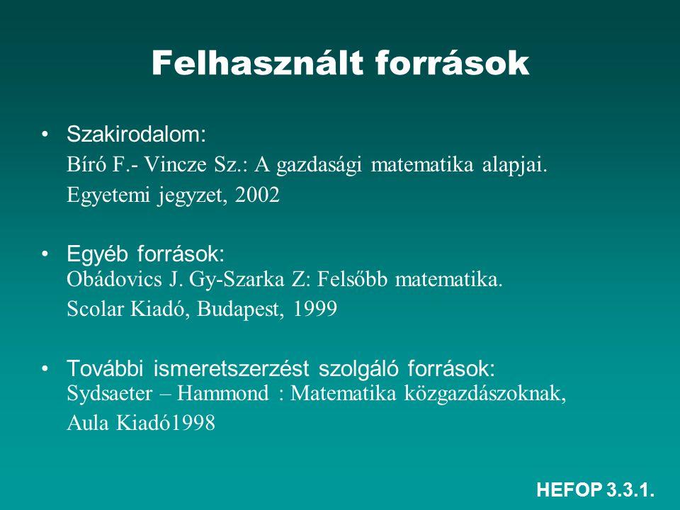 HEFOP 3.3.1. Felhasznált források Szakirodalom: Bíró F.- Vincze Sz.: A gazdasági matematika alapjai. Egyetemi jegyzet, 2002 Egyéb források: Obádovics
