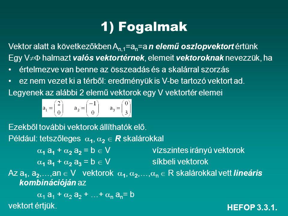 HEFOP 3.3.1. 1) Fogalmak Vektor alatt a következőkben A n,1 =a n =a n elemű oszlopvektort értünk Egy V  halmazt valós vektortérnek, elemeit vektorok
