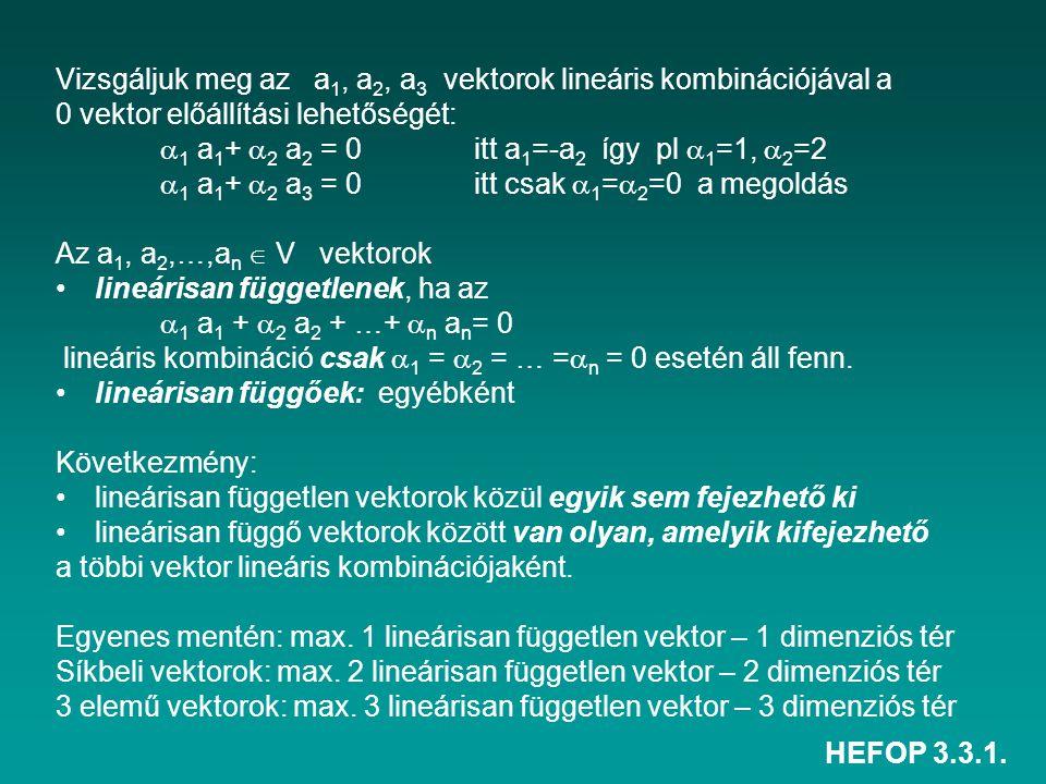HEFOP 3.3.1. Vizsgáljuk meg az a 1, a 2, a 3 vektorok lineáris kombinációjával a 0 vektor előállítási lehetőségét:  1 a 1 +  2 a 2 = 0itt a 1 =-a 2