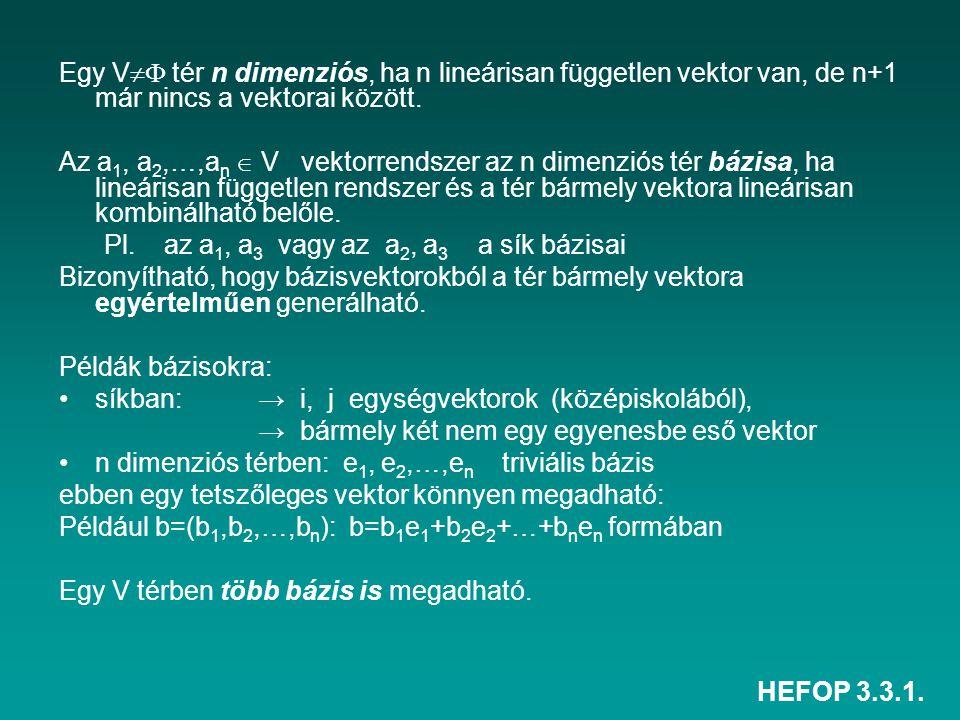 HEFOP 3.3.1. Egy V  tér n dimenziós, ha n lineárisan független vektor van, de n+1 már nincs a vektorai között. Az a 1, a 2,…,a n  V vektorrendszer