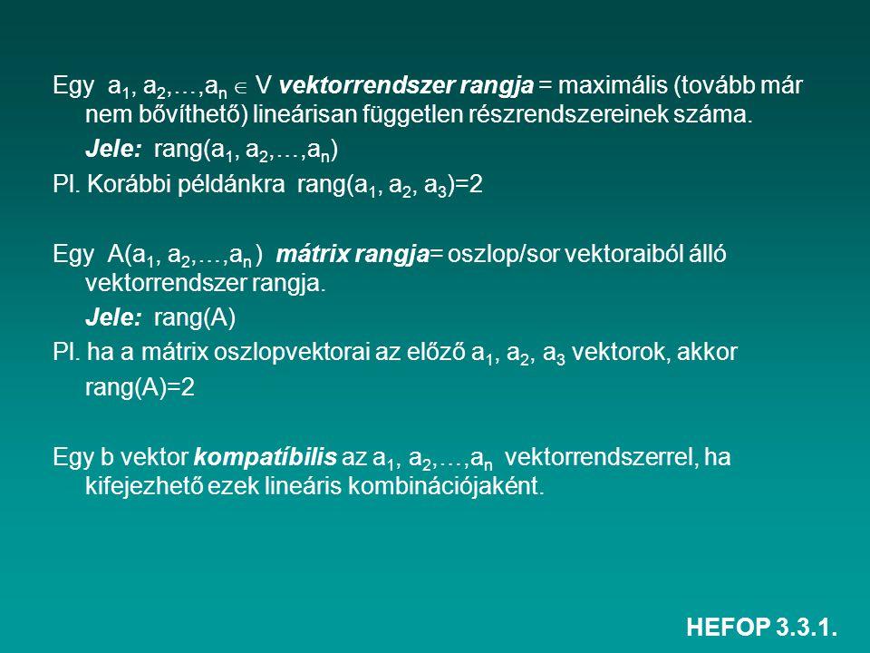 HEFOP 3.3.1. Egy a 1, a 2,…,a n  V vektorrendszer rangja = maximális (tovább már nem bővíthető) lineárisan független részrendszereinek száma. Jele: r