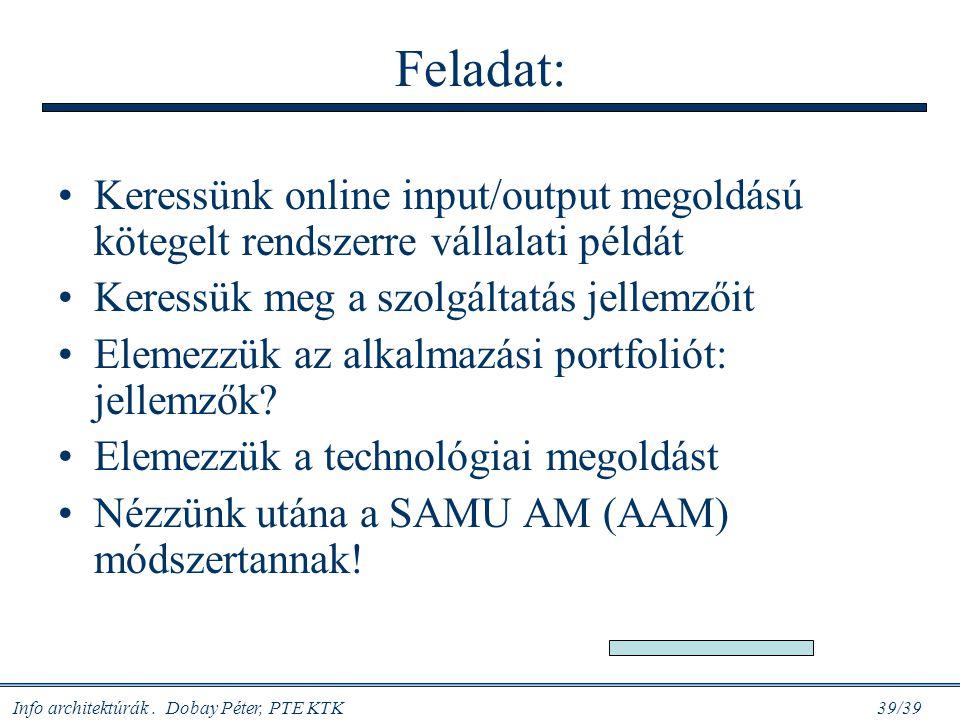 Info architektúrák. Dobay Péter, PTE KTK 39/39 Feladat: Keressünk online input/output megoldású kötegelt rendszerre vállalati példát Keressük meg a sz