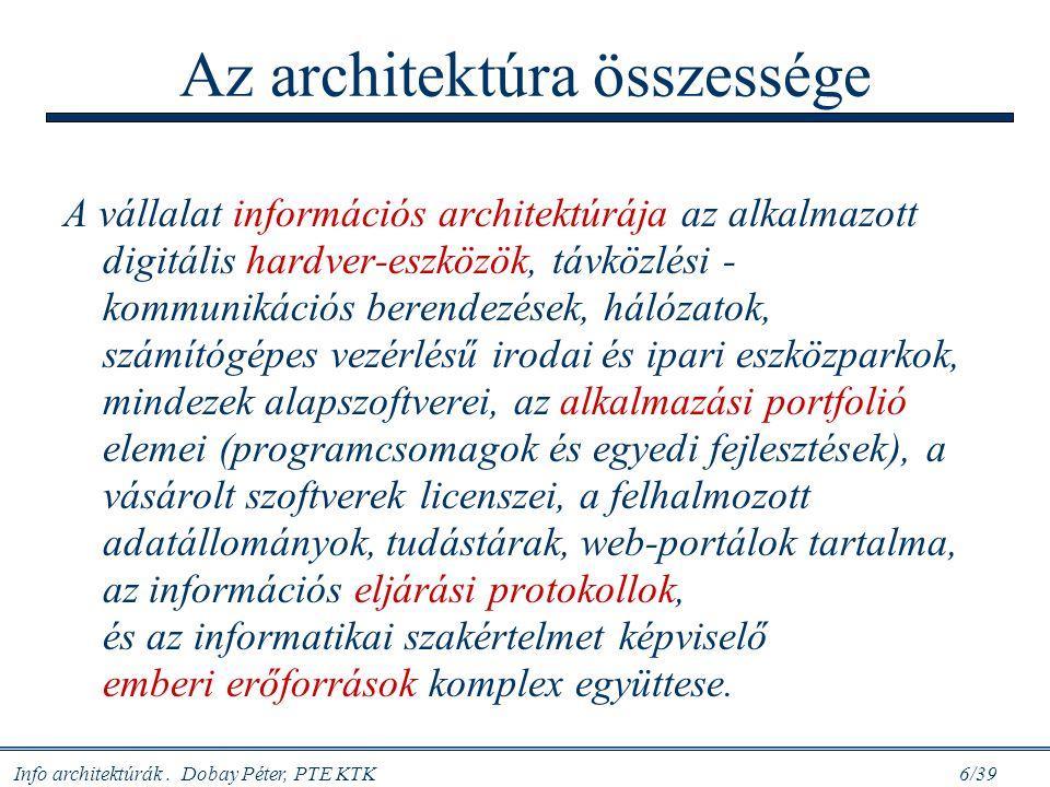 Info architektúrák. Dobay Péter, PTE KTK 6/39 Az architektúra összessége A vállalat információs architektúrája az alkalmazott digitális hardver-eszköz