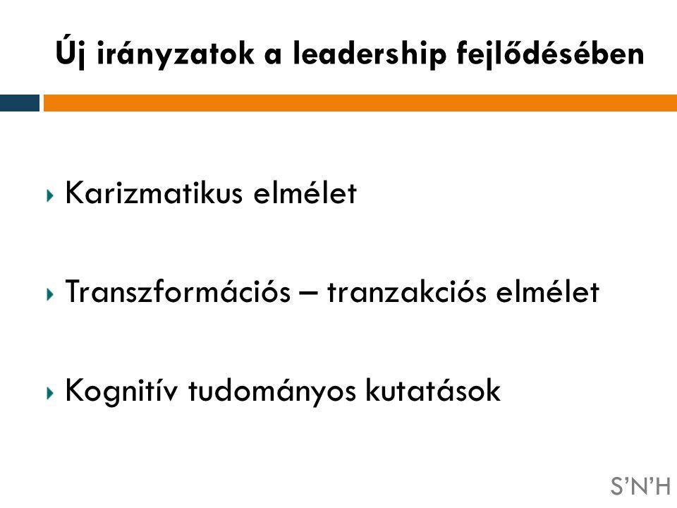 Karizmatikus elmélet Transzformációs – tranzakciós elmélet Kognitív tudományos kutatások Új irányzatok a leadership fejlődésében S'N'H