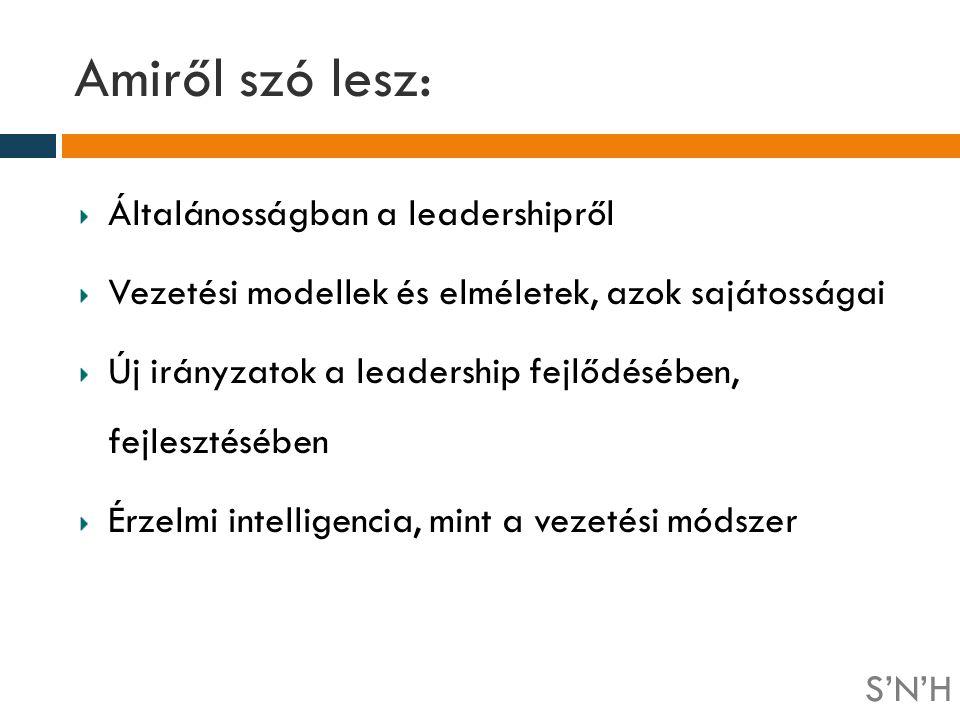 Amiről szó lesz: Általánosságban a leadershipről Vezetési modellek és elméletek, azok sajátosságai Új irányzatok a leadership fejlődésében, fejlesztés