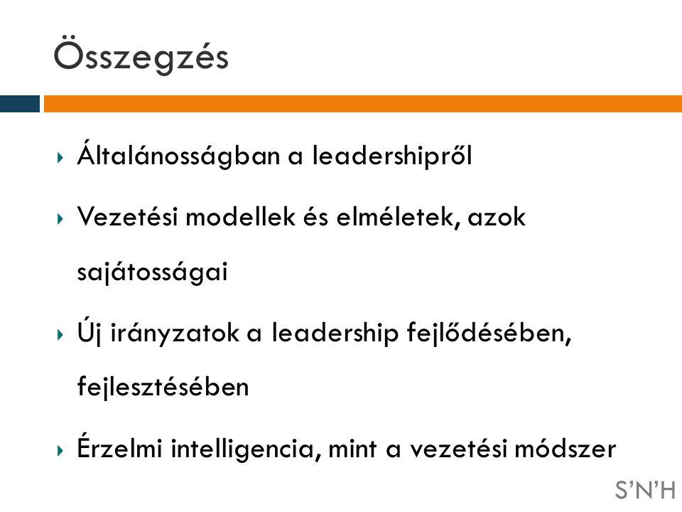 Összegzés Általánosságban a leadershipről Vezetési modellek és elméletek, azok sajátosságai Új irányzatok a leadership fejlődésében, fejlesztésében Ér