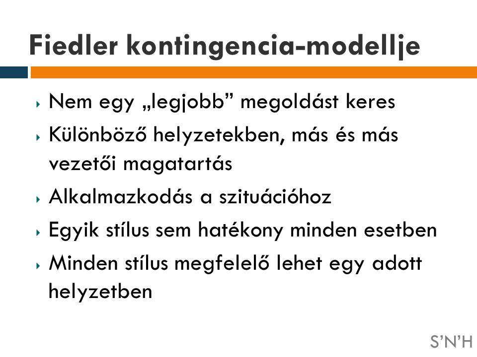"""Fiedler kontingencia-modellje Nem egy """"legjobb"""" megoldást keres Különböző helyzetekben, más és más vezetői magatartás Alkalmazkodás a szituációhoz Egy"""