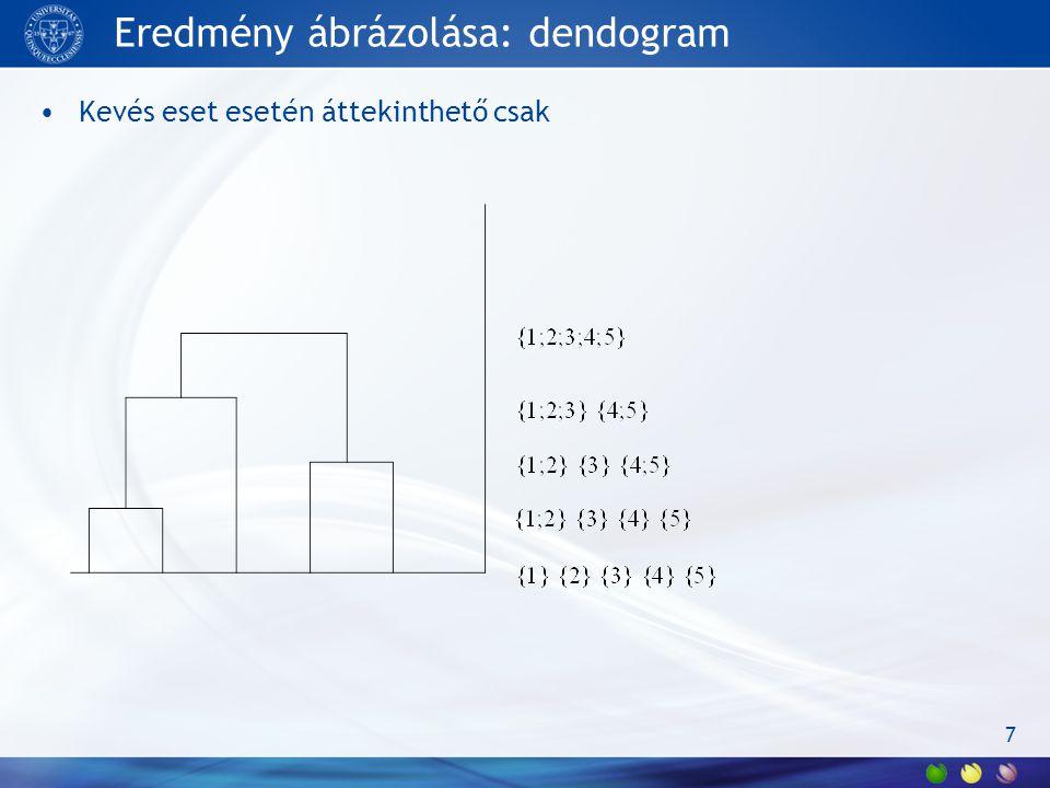 Eredmény ábrázolása: dendogram Kevés eset esetén áttekinthető csak 7