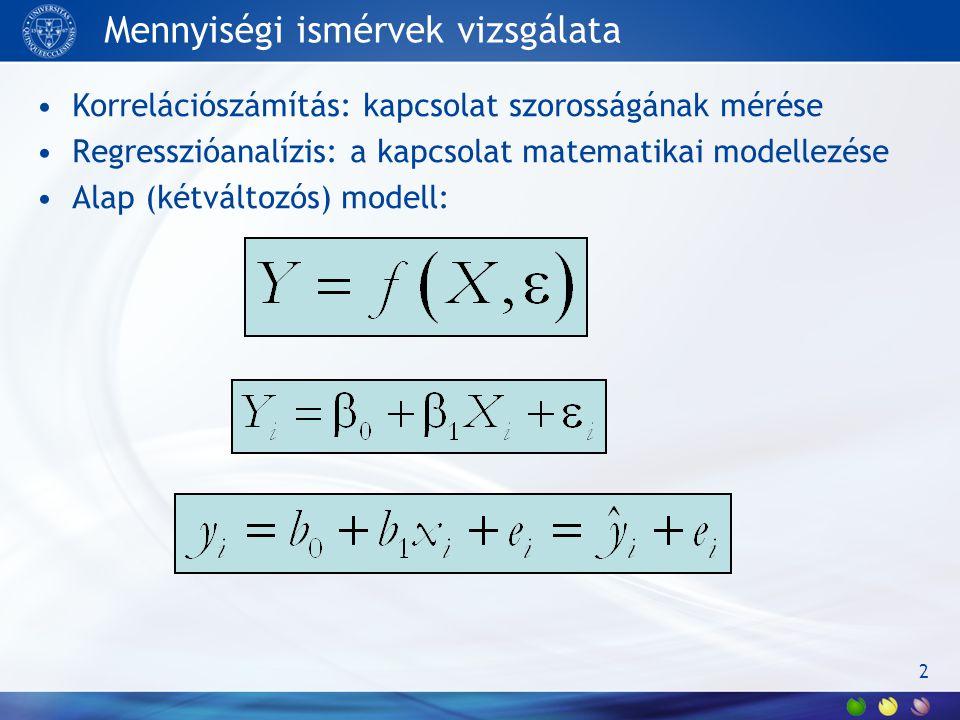 Mennyiségi ismérvek vizsgálata Korrelációszámítás: kapcsolat szorosságának mérése Regresszióanalízis: a kapcsolat matematikai modellezése Alap (kétváltozós) modell: 2