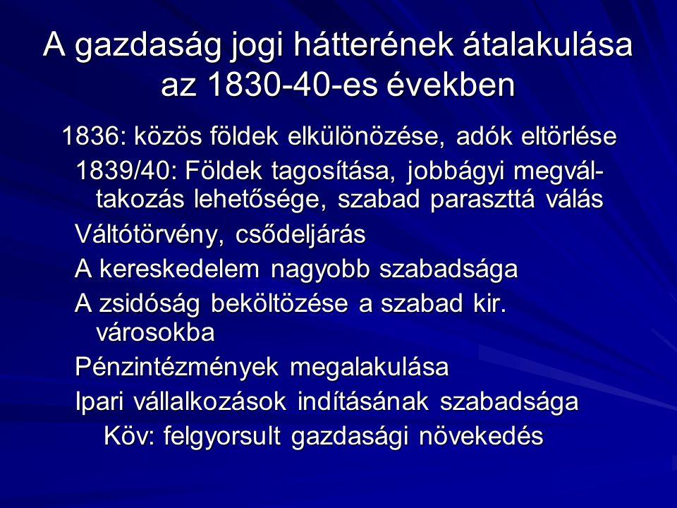 A gazdaság jogi hátterének átalakulása az 1830-40-es években 1836: közös földek elkülönözése, adók eltörlése 1839/40: Földek tagosítása, jobbágyi megvál- takozás lehetősége, szabad paraszttá válás Váltótörvény, csődeljárás A kereskedelem nagyobb szabadsága A zsidóság beköltözése a szabad kir.