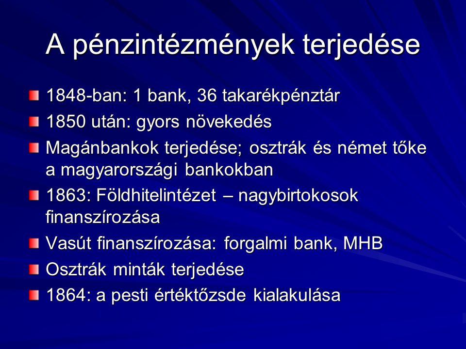 A pénzintézmények terjedése 1848-ban: 1 bank, 36 takarékpénztár 1850 után: gyors növekedés Magánbankok terjedése; osztrák és német tőke a magyarországi bankokban 1863: Földhitelintézet – nagybirtokosok finanszírozása Vasút finanszírozása: forgalmi bank, MHB Osztrák minták terjedése 1864: a pesti értéktőzsde kialakulása