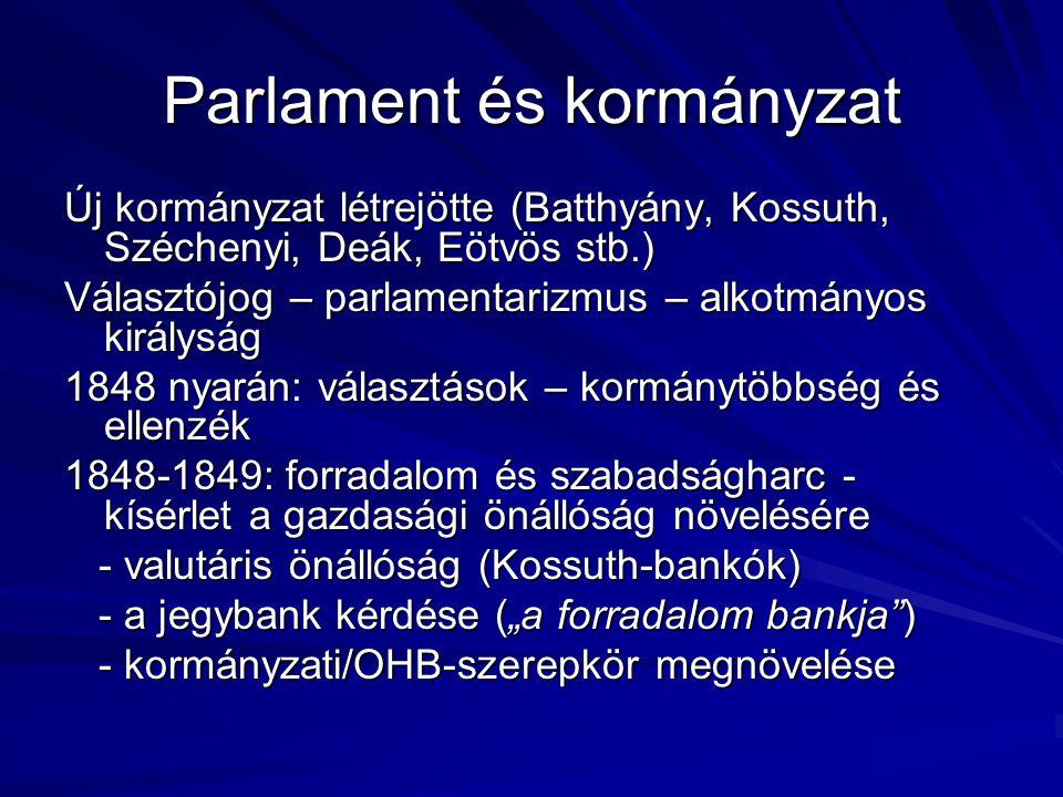 A Habsburg-birodalom 1850-ben A birodalmi rendszer változásai - a kormányzat átalakulása Haynau után - a kormányzat átalakulása Haynau után (Schwarzenberg, Bach, Schmerling) (Schwarzenberg, Bach, Schmerling) - a népesség szerkezete eltolódik (1851-ben - a népesség szerkezete eltolódik (1851-ben németajkú: 8 m., olasz: 5,5 m., magyar: 5 m.) németajkú: 8 m., olasz: 5,5 m., magyar: 5 m.) - Köv: az olasz területek felértékelődtek - Köv: az olasz területek felértékelődtek - a nagyhatalmi státus kérdése - a német egyesítés és a birodalom kapcsolata - a nagyhatalmi státus kérdése - a német egyesítés és a birodalom kapcsolata - Au + Cseho: gyors iparosodás, növekedés - Au + Cseho: gyors iparosodás, növekedés - Mo: agrártérség, gazdasági elmaradottság - Mo: agrártérség, gazdasági elmaradottság