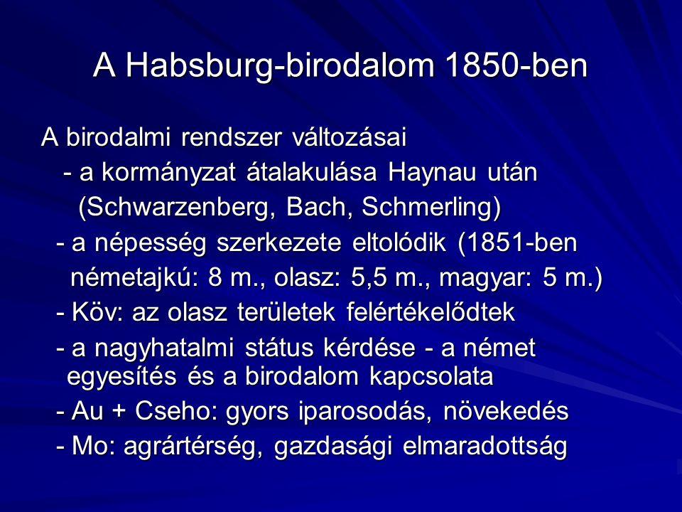 Önkényuralmi gazdaságpolitika A rendszer lényege: politikai abszolútizmus – gazdasági liberalizmus Gazdasági intézkedések: A vámegység megteremtése: 1850/1851 – A vámegység megteremtése: 1850/1851 – hatások, olcsóbb kereskedelem.