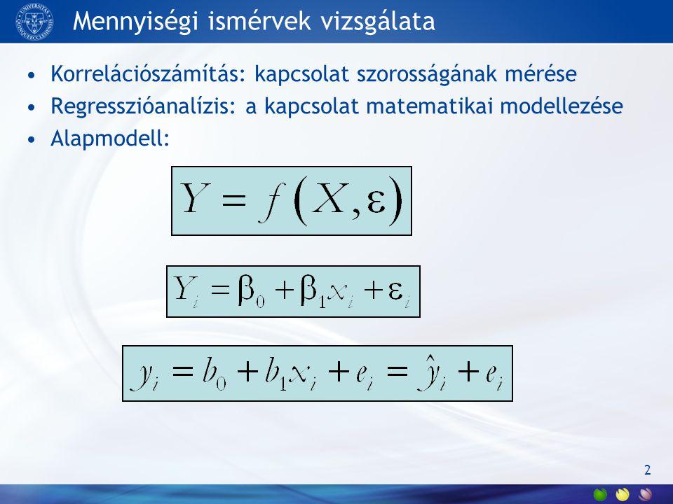 Mennyiségi ismérvek vizsgálata Korrelációszámítás: kapcsolat szorosságának mérése Regresszióanalízis: a kapcsolat matematikai modellezése Alapmodell: