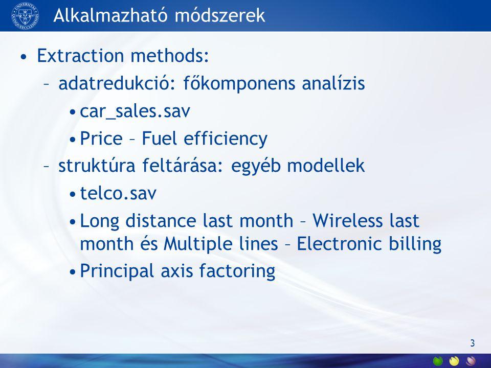 Alkalmazható módszerek Extraction methods: –adatredukció: főkomponens analízis car_sales.sav Price – Fuel efficiency –struktúra feltárása: egyéb model