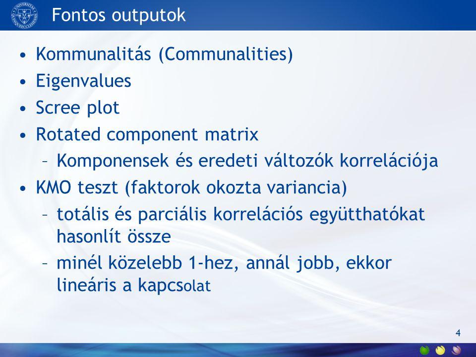Fontos outputok Kommunalitás (Communalities) Eigenvalues Scree plot Rotated component matrix –Komponensek és eredeti változók korrelációja KMO teszt (