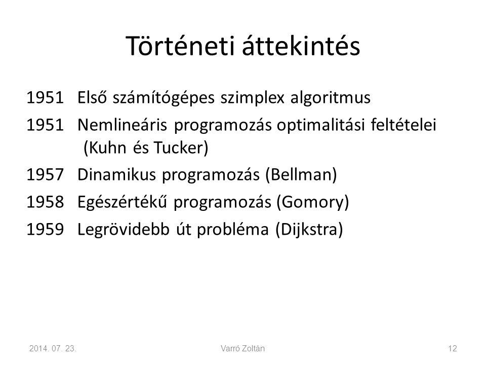 Történeti áttekintés 1951 Első számítógépes szimplex algoritmus 1951 Nemlineáris programozás optimalitási feltételei (Kuhn és Tucker) 1957 Dinamikus programozás (Bellman) 1958 Egészértékű programozás (Gomory) 1959 Legrövidebb út probléma (Dijkstra) 2014.