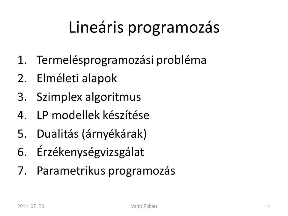 Lineáris programozás 1.Termelésprogramozási probléma 2.Elméleti alapok 3.Szimplex algoritmus 4.LP modellek készítése 5.Dualitás (árnyékárak) 6.Érzékenységvizsgálat 7.Parametrikus programozás 2014.