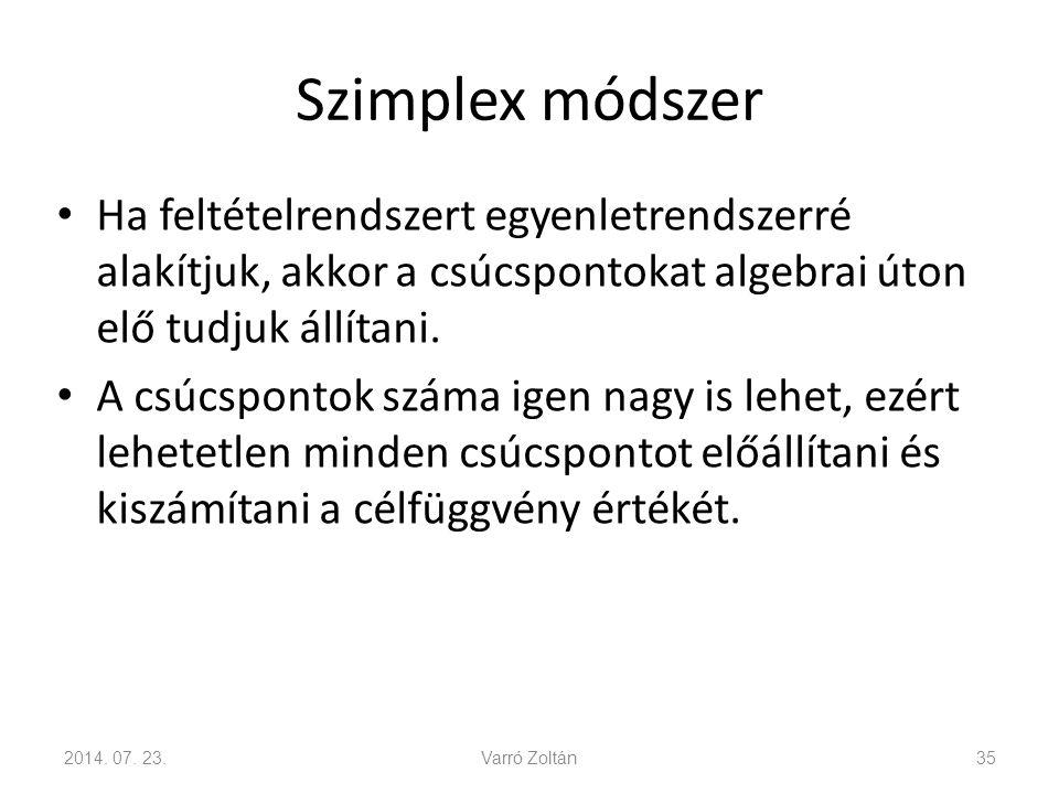 Szimplex módszer Ha feltételrendszert egyenletrendszerré alakítjuk, akkor a csúcspontokat algebrai úton elő tudjuk állítani.