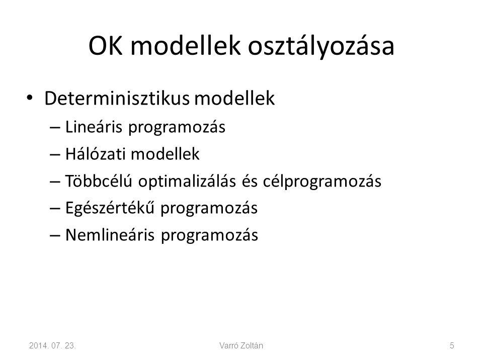 OK modellek osztályozása Determinisztikus modellek – Lineáris programozás – Hálózati modellek – Többcélú optimalizálás és célprogramozás – Egészértékű programozás – Nemlineáris programozás 2014.