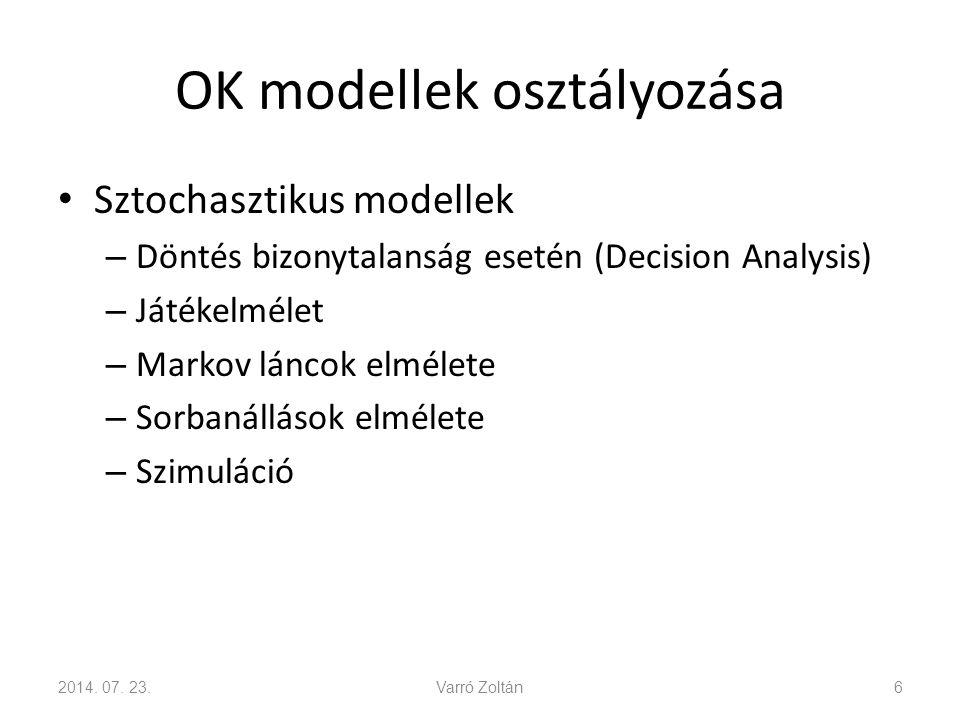 OK modellek osztályozása Sztochasztikus modellek – Döntés bizonytalanság esetén (Decision Analysis) – Játékelmélet – Markov láncok elmélete – Sorbanállások elmélete – Szimuláció 2014.