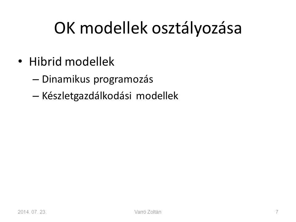 OK modellek osztályozása Hibrid modellek – Dinamikus programozás – Készletgazdálkodási modellek 2014.