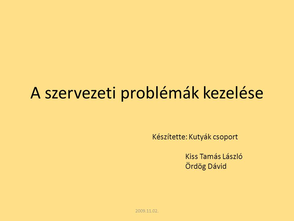 A szervezeti problémák kezelése 2009.11.02.
