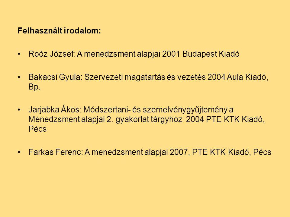 Felhasznált irodalom: Roóz József: A menedzsment alapjai 2001 Budapest Kiadó Bakacsi Gyula: Szervezeti magatartás és vezetés 2004 Aula Kiadó, Bp.
