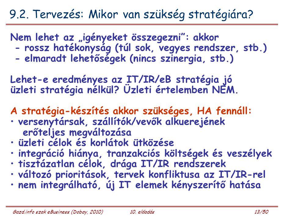 """Gazd.info szak eBusiness (Dobay, 2010)10. előadás 13/50 9.2. Tervezés: Mikor van szükség stratégiára? Nem lehet az """"igényeket összegezni"""": akkor - ros"""
