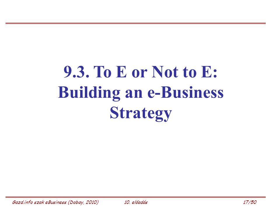 Gazd.info szak eBusiness (Dobay, 2010)10. előadás 17/50 9.3. To E or Not to E: Building an e-Business Strategy