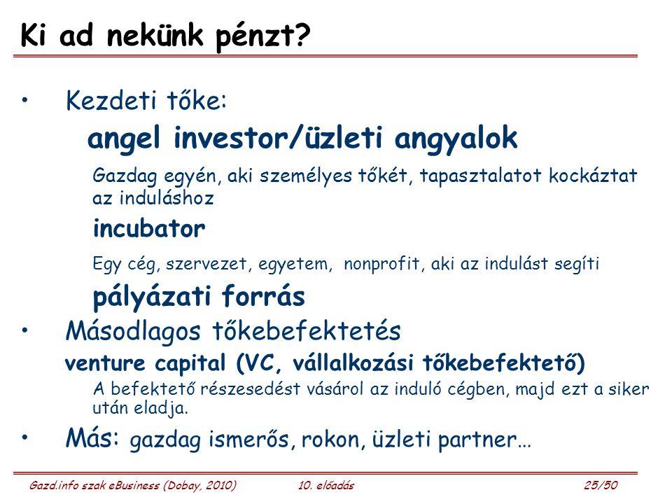 Gazd.info szak eBusiness (Dobay, 2010)10. előadás 25/50 Ki ad nekünk pénzt? Kezdeti tőke: angel investor/üzleti angyalok Gazdag egyén, aki személyes t