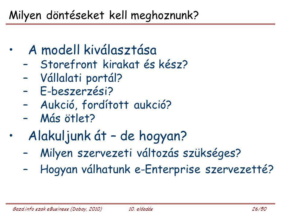 Gazd.info szak eBusiness (Dobay, 2010)10. előadás 26/50 Milyen döntéseket kell meghoznunk? A modell kiválasztása –Storefront kirakat és kész? –Vállala