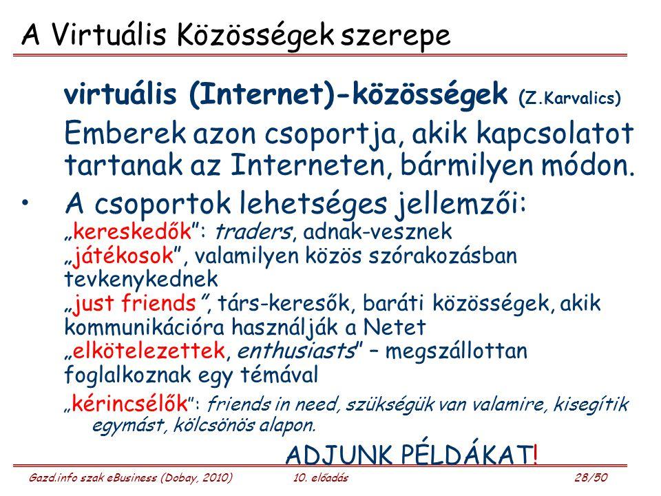 Gazd.info szak eBusiness (Dobay, 2010)10. előadás 28/50 A Virtuális Közösségek szerepe virtuális (Internet)-közösségek ( Z.Karvalics) Emberek azon cso