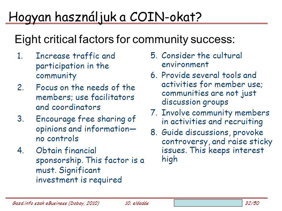 Gazd.info szak eBusiness (Dobay, 2010)10. előadás 32/50 Hogyan használjuk a COIN-okat? 1.Increase traffic and participation in the community 2.Focus o
