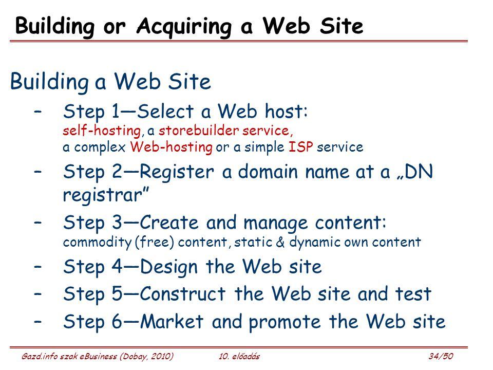 Gazd.info szak eBusiness (Dobay, 2010)10. előadás 34/50 Building or Acquiring a Web Site Building a Web Site –Step 1—Select a Web host: self-hosting,