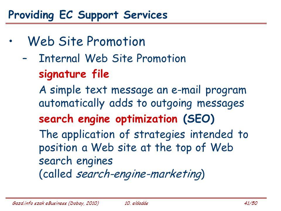 Gazd.info szak eBusiness (Dobay, 2010)10. előadás 41/50 Providing EC Support Services Web Site Promotion –Internal Web Site Promotion signature file A