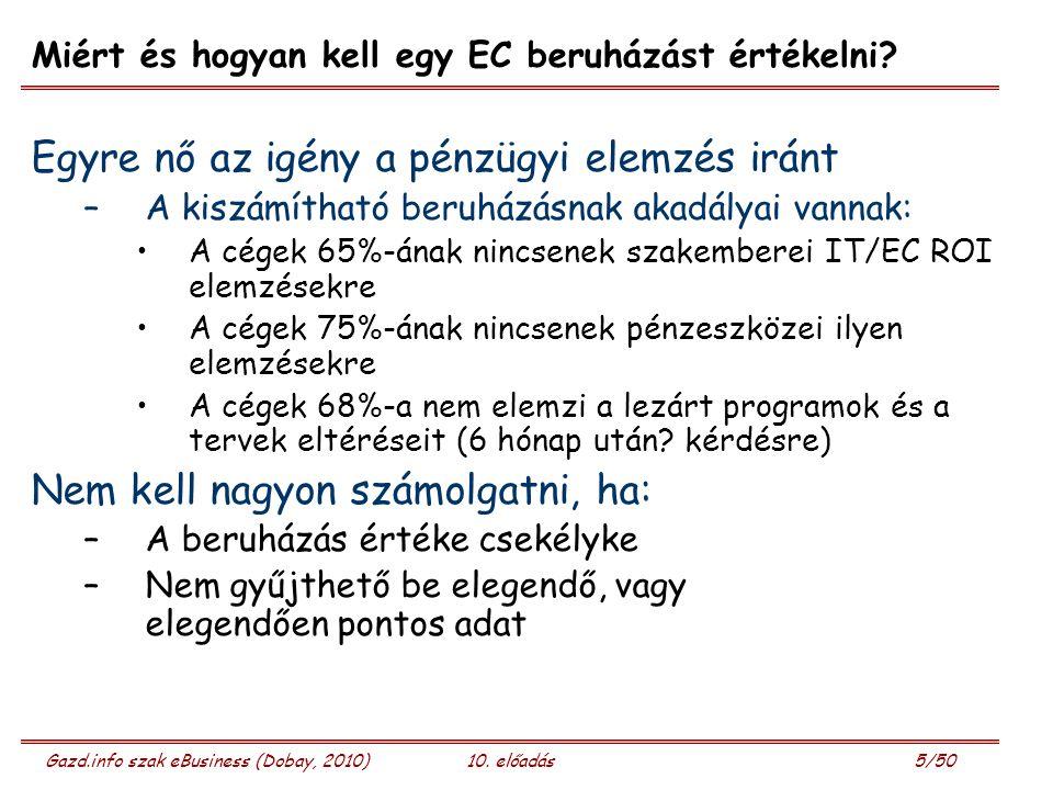 Gazd.info szak eBusiness (Dobay, 2010)10. előadás 5/50 Miért és hogyan kell egy EC beruházást értékelni? Egyre nő az igény a pénzügyi elemzés iránt –A