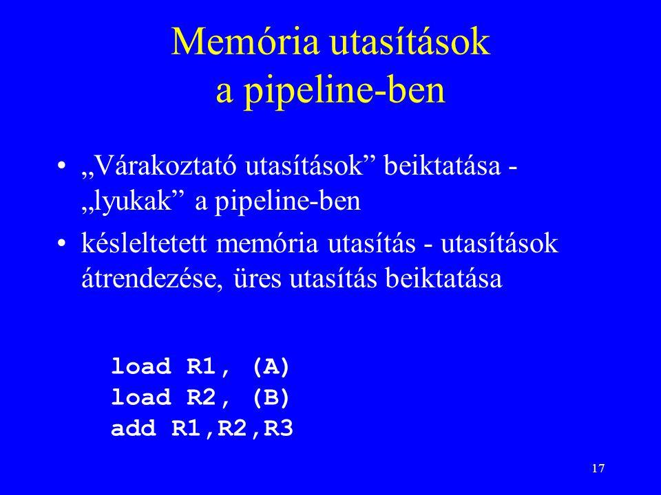 """17 Memória utasítások a pipeline-ben """"Várakoztató utasítások"""" beiktatása - """"lyukak"""" a pipeline-ben késleltetett memória utasítás - utasítások átrendez"""