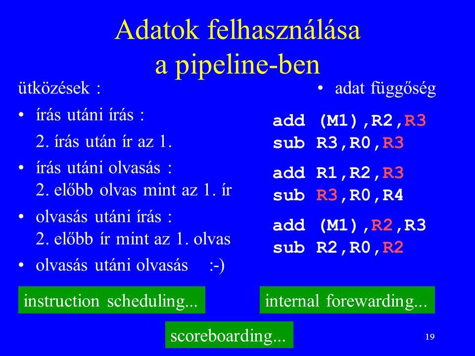 19 Adatok felhasználása a pipeline-ben adat függőség add R1,R2,R3 sub R3,R0,R4 ütközések : írás utáni írás : 2. írás után ír az 1. írás utáni olvasás
