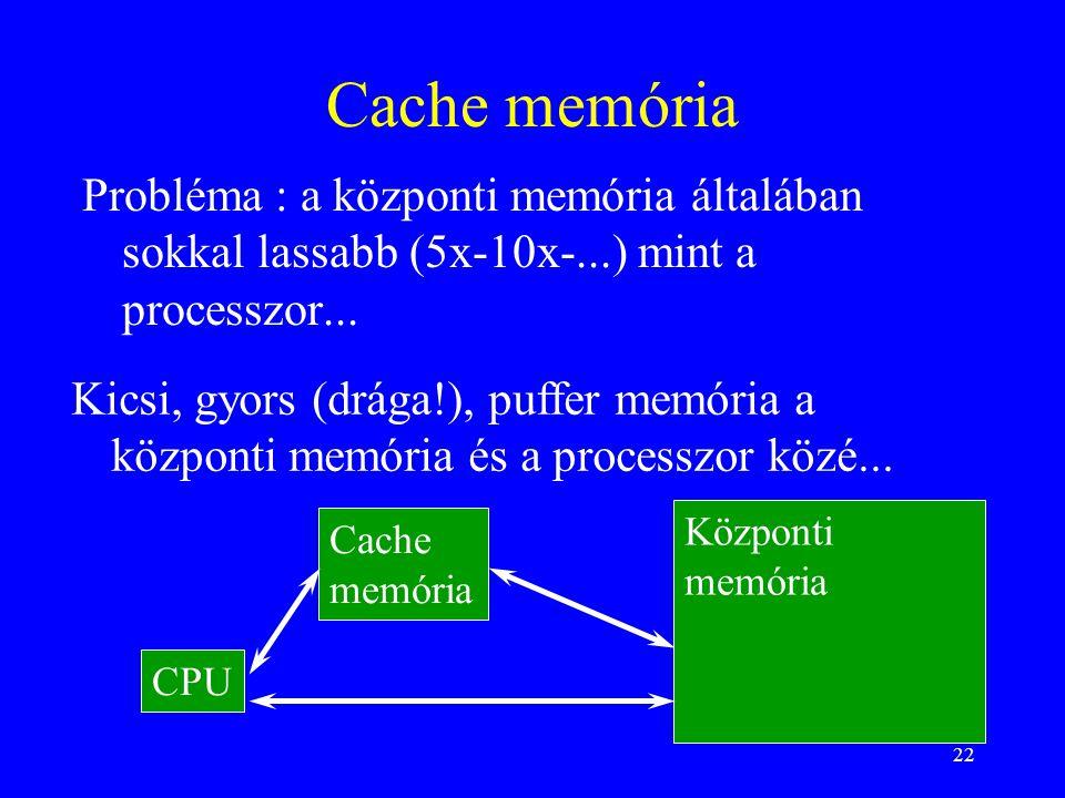 22 Cache memória Probléma : a központi memória általában sokkal lassabb (5x-10x-...) mint a processzor... Kicsi, gyors (drága!), puffer memória a közp