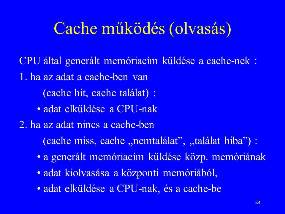 24 Cache működés (olvasás) CPU által generált memóriacím küldése a cache-nek : 1. ha az adat a cache-ben van (cache hit, cache találat) : adat elküldé
