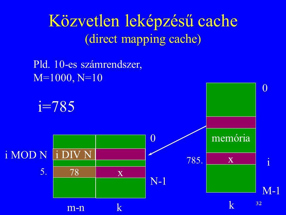32 Közvetlen leképzésű cache (direct mapping cache) memória 0 M-1 0 N-1 k k i i MOD N m-n i DIV N Pld. 10-es számrendszer, M=1000, N=10 i=785 5. 78 x