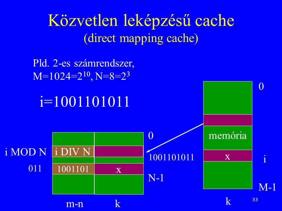 33 Közvetlen leképzésű cache (direct mapping cache) memória 0 M-1 0 N-1 k k i i MOD N m-n i DIV N Pld. 2-es számrendszer, M=1024=2 10, N=8=2 3 i=10011