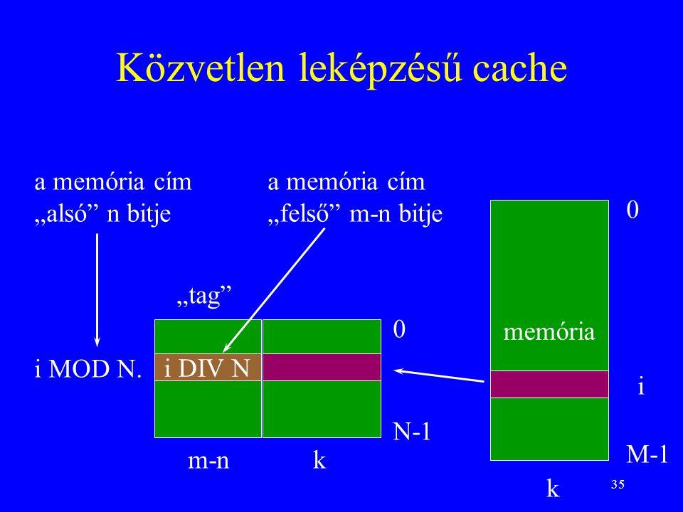 """35 Közvetlen leképzésű cache memória 0 M-1 0 N-1 k k i i MOD N. m-n i DIV N a memória cím """"alsó"""" n bitje """"tag"""" a memória cím """"felső"""" m-n bitje"""